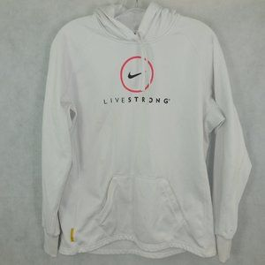 Nike Live Strong Distressed White Hoodie Size L